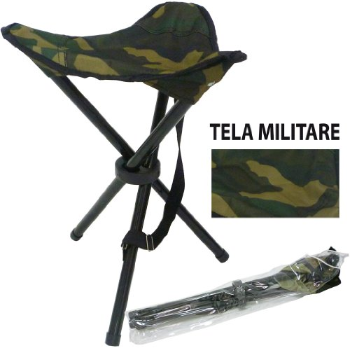 Sgabello seggiolino sedia pieghevole militare in metallo per pescatore campeggio