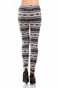 Amour-Women Snowflake Christmas Pattern Ankle Length Legging One Size Multicolored