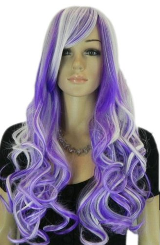 Qiyun Long Dark Purple Silver White Mix Cosplay Costume Synthetic Hair Full Wig