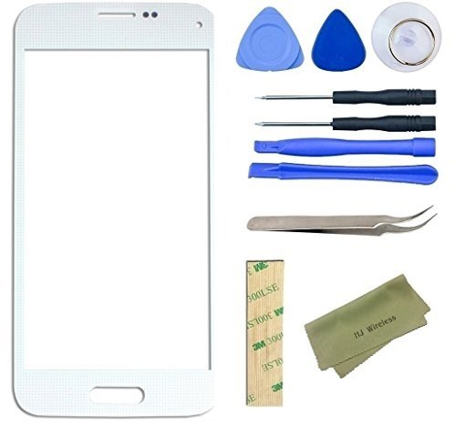 Samsung Galaxy S5 Mini Broken Front Glass Screen Replacement Kit / Adhesive / Lens Repair / Tools GS5 Mini (White) (S5 Repair Kit compare prices)