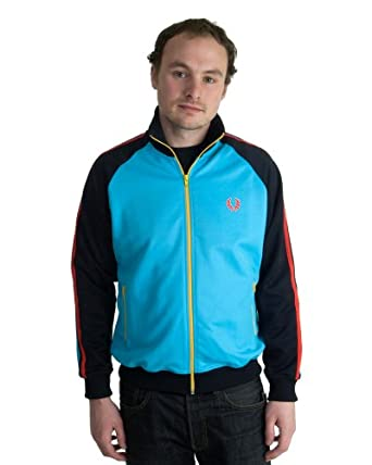 Fred Perry Twin Tape Color Block Men's Track Jacket (Medium, Navy/Blue/Red/Yellow)