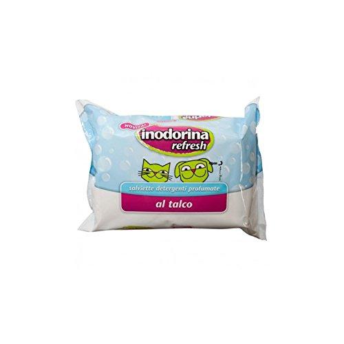 Salviette profumate Inodorina Refresh 40 pz - Salviettine detergenti in più profumazioni per cani, gatti e cuccioli (Talco)