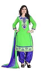 RajLaxmi Women's Fashion Green & Blue Chanderi Silk Dress Material