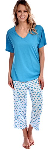 Pink Lady Women's Cotton Knit Short Sleeve Top and Capri Butterfly 2 Piece Pajama Set Turquoise Small