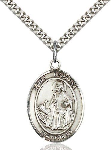 St. Dymphna Medal, Sterling Silver, Large, Quarter Size