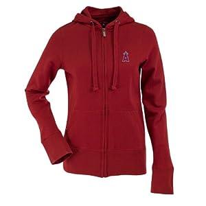 Los Angeles Angels Ladies Zip Front Hoody Sweatshirt (Team Color) by Antigua