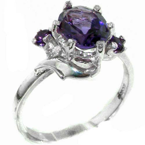 Luxury Solid Sterling Silver Large 9x7mm Natural Amethyst Ladies Ring - Size 11.75 - Finger Sizes 5 to 12 Available - Suitable as an Anniversary ring, Engagement ring, Eternity ring, or Promise ring