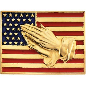 14 Karat Yellow Gold American Flag with Praying Hands Lapel pin