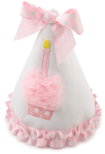 Discover Bargain Mud Pie Baby Birthday Pink and White Hat, Cupcake