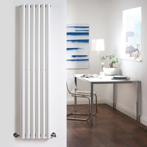 White Designer Radiator - Round Tube - Luxury Central Heating Vertical 'Drainpipe' Columns - 1600mm x 354mm