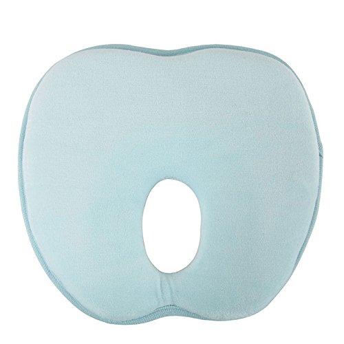 Noza Tec Babykopfkissen gegen Verformung des Hinterkopfs aus Baumwolle 100% schadstofffrei (Hellblau ,leicht gelb auswählbar) (1x Stück in Hellblau)