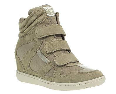 skechers womens taupe high heel velcro hi top