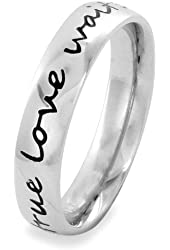 Stainless Steel 'True Love Waits' Cursive Script Ring (4.5 mm) - Sizes 4-13