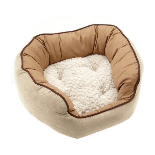Neat Solutions For Pets Cozy Cuddler Pet Bed With Embossed Polysuede, 14-Inch By 17-Inch, Ebony/Smoke front-52722