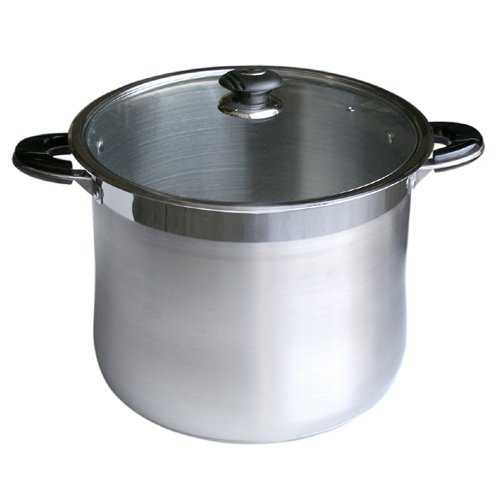 Alpha Heavy Gage 24 Qt Stainless Steel Stock Pot with Glass Lid By Savezoneusa /Alpha