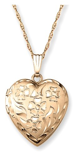 """14k Yellow Gold Filled Engraved Flowers Heart Locket, 18"""""""