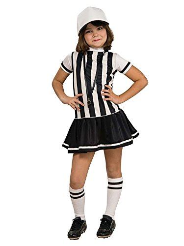 Child Referee Girl Costume Striped Black & White Dress & Hat