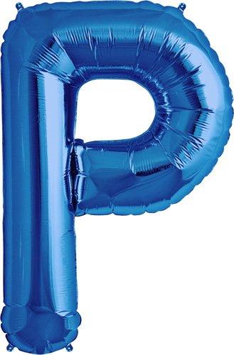 Letter P - Blue Helium Foil Balloon - 34 inch