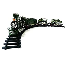 Sunshine Army Train with Big Track and Real Smoke Battery Operated with Flashlight + Sound + Smoke Effect