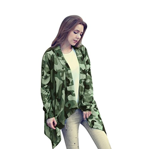 Fresco Moda, Reasoncool Donne irregolare manica lunga Cardigan casuale Outwear Coat Top (L, Verde)