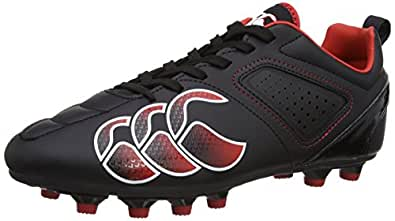 Canterbury E22321 Men's Phoenix Club Moulded Rugby Boot - Black/Molten Lava/White, 9 UK