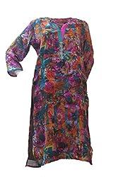Tulip Collections Women's Georgette Kurta, Multicolored