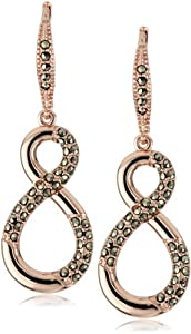 Judith Jack Sterling and Rose Gold-Plated Infinity Drop Earrings