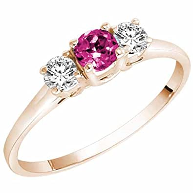 Ryan Jonathan Three Stone Pink Tourmaline and Diamond Ring in 14K White Gold