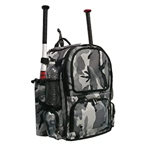 Gray Camouflage Chita Youth Softball Baseball Bat Equipment Backpack GYCACY