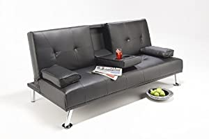 Cheap Faux Leather TV Cinema Sofa Bed on Chrome Legs with Pull Down Drinks Holder by Southern Sofa Beds