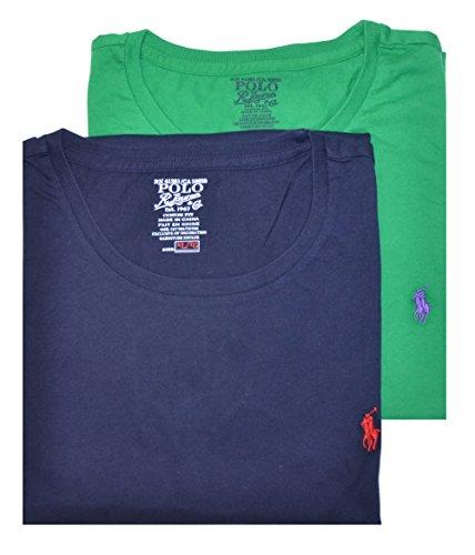 Polo Ralph Lauren Men Custom Fit Assorted 2 Pack Crew Neck T-Shirt (M, Navy/Green)