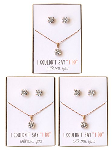 Bridesmaid jewelry gift Rose Gold Cubic Zirconia Necklace set, Set of 3