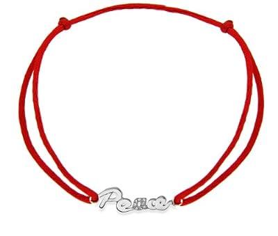 "Carissima 9ct White Gold 0.03ct Diamond 'PEACE' Adjustable Rose Silk Bracelet 6""-8"""
