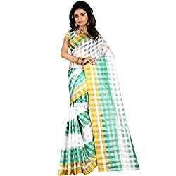 Dealseven Fashion New White & Green Colure Tissue Silk Saree