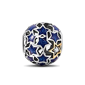 NinaQueen *Starry Night* 925 Sterling Silver Openwork Charms Fits Pandora Bracelet**Star Jewelry**Vintage Pendent Blue Stars, Romantic Gifts for her, a great gift for Mom,Wife,Girlfriend,daughter and friends on Birthday, Anniversary, Valentines day, Graduations, Mother's Day and Christmas Day.