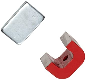 "Red Cast Alnico 5 Bridge Magnet With Keeper, 1.18"" Wide, 0.78"" High, 0.78"" Thick, 0.20"" Hole On Top (Pack of 1)"