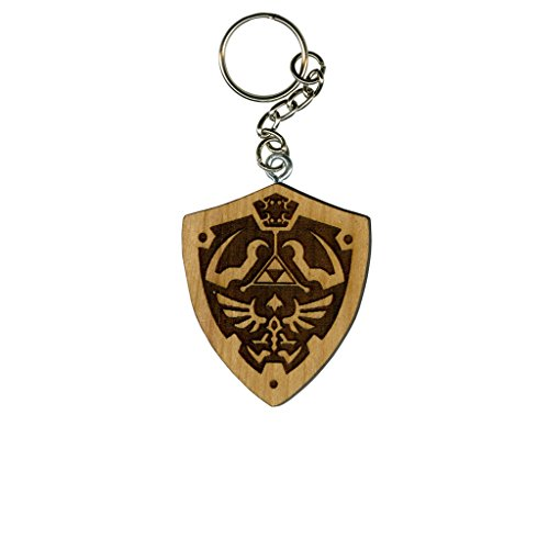 Nintendo Zelda Hylian Shield Cherry Inked and Screened Laser Engraved Keychain