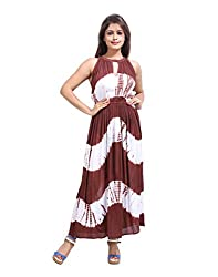 Handmade Brown Dress Rayon Crepe Tie Dye Abstract Large For Girl's By Rajrang