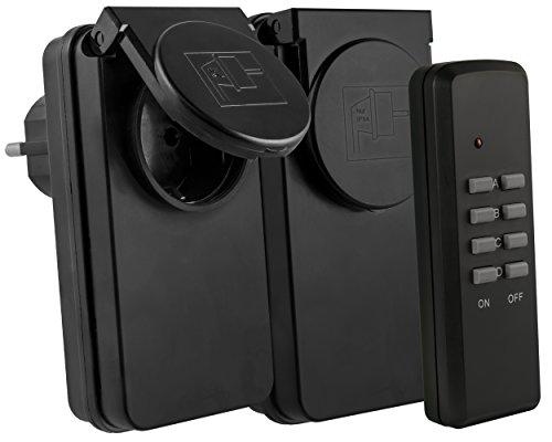 Funksteckdosen Outdoor Set: 2 x Funksteckdose für Aussen + 1 x Fernbedienung - Plug & Play - 1000 Watt