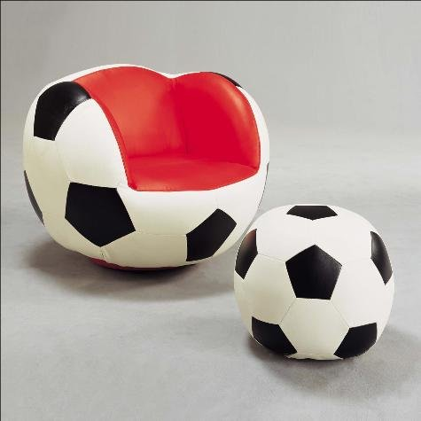 Brand New Soccer Theme Swivel 28.5''x 28.5''x 26''H Chair And 17'' Dia.x11''H Ottoman Set