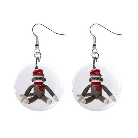 Sock Monkey Dangle Button Earrings Jewelry 1 inch Round 26402362