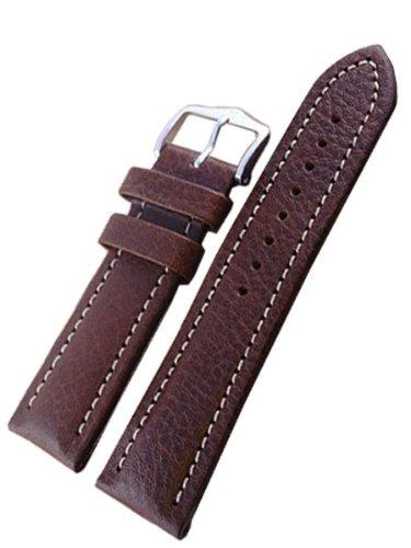 Hirsch Buffalo Brown High Grain Leather Watch Strap 113202-15-22