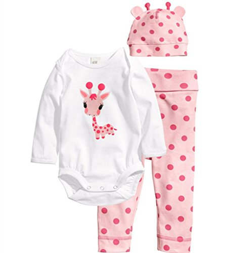 Flowerbb Baby Girl's 3 Set in 1 Cartton Giraffe Skirt +Pant Bodysuit Hat 07
