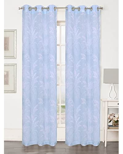 Beatrice Home Fashions Set of 2 Teak Curtain Panels, Blue