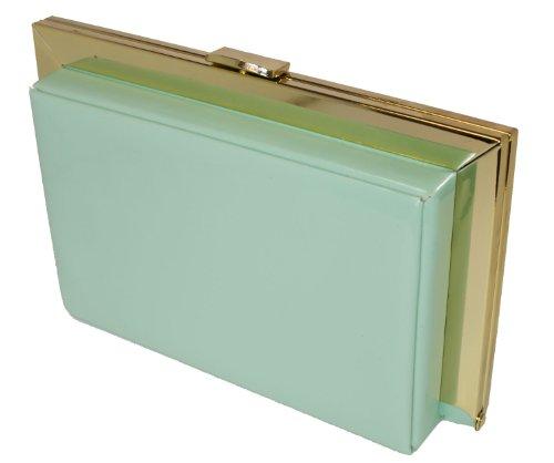 Mimi & Thomas Mint Green Designer Box Clutch Party Prom Wedding Evening Handbag with Satin Dust Bag