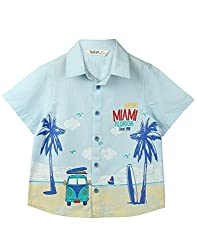 Beebay Boys 100% Cotton Woven Miami Print Stripe Shirt (B0216109303414_Light Blue_8 Years)