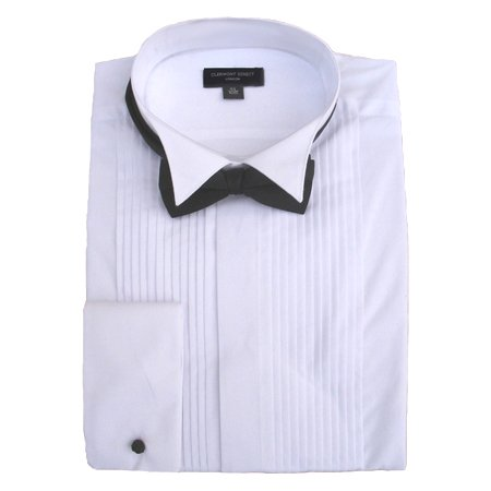 100% Cotton Pleated Wing Collar Dress Shirt 15.5