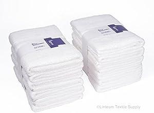 Linteum Textile 100 Soft Cotton Hotel-Quality White BATH TOWELS 24x48 in 12-Pack