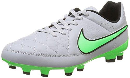 Nike Jr Tiempo Genio Leather Fg, Scarpe sportive, Ragazzo, Multicolore (Wolf Grey/Green Strike-Blk-Blk), 38