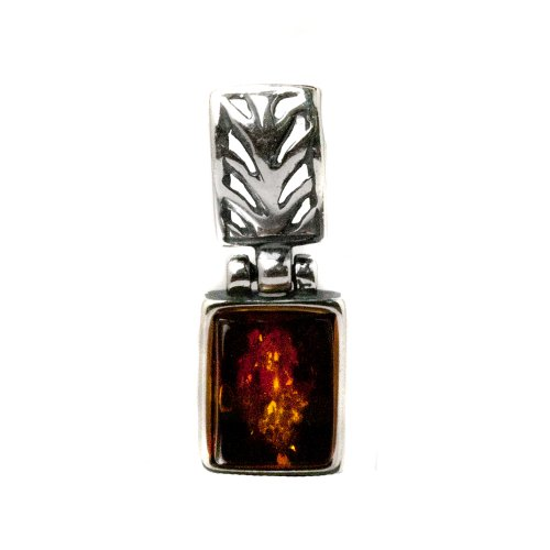 Baltic Amber Sterling Silver Rectangular Pendant